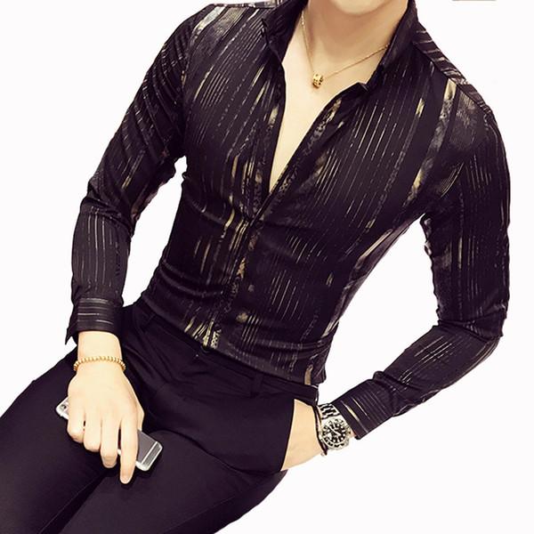 Camicia da uomo in oro di lusso 2018 Nuova manica lunga Nero Bianco Navy Rosso Party Club Sexy Night club Bar Stage Abbigliamento Camicia maschile