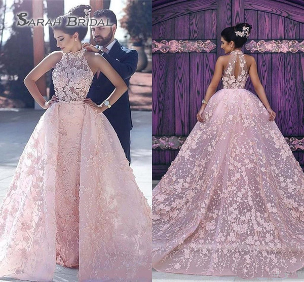 top popular 2019 Sexy Pink A Line Wedding Dresses High Neck Illusion Lace Appliques 3D Floral Flowers Ball Gown Overskirts Plus Size Formal Bridal Gowns 2020
