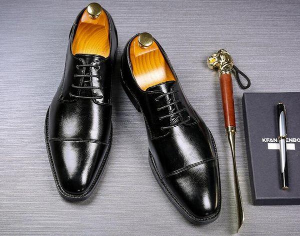 Hole Leather Men Oxford Shoes Lace Up Casual Business Office Simple Plus Size 38-48 Male Formal Wedding Shoes Men Dress Shoes
