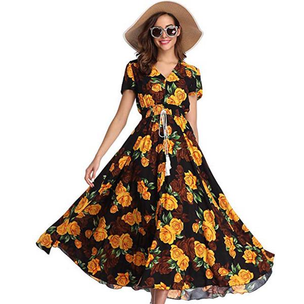 Vestido boho de talla grande para mujer Verano 2019 Vestido largo elegante con estampado floral Vestido largo de playa dividida vestidos verano 2019