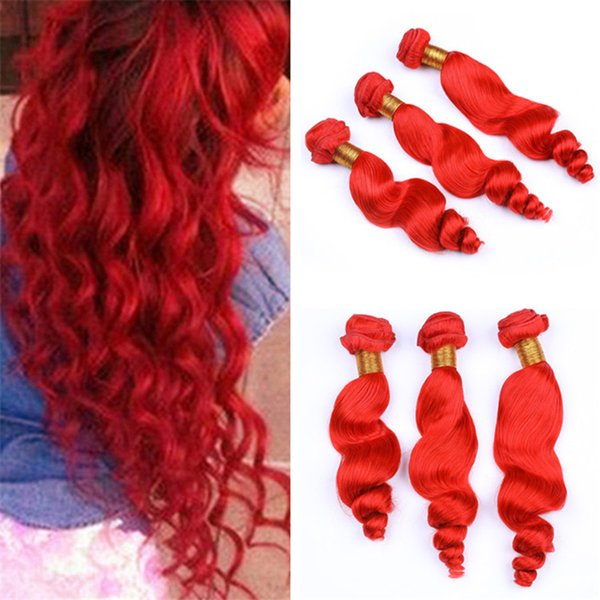 Cheap Red Color Human Hair Bundles Loose Wave wavy Bright Red Virgin Malaysian Hair Weave Wefts Extensions 300g Lot Mixed Length