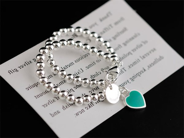 Hot High Quality Celebrity design Silverware beads bracelet Women Letter Heart-shaped metal Bracelets Jewelry Silver With dust bag Box