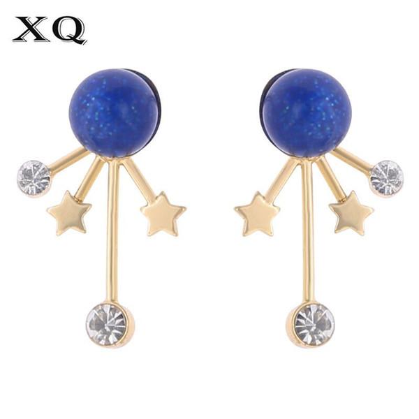 XQ Frau Mode Ohrringe Zink-Legierung blauen Stein weißen Sternen neue Großhandel Schönheit Paar Schmuck Mädchen Geburtstagsgeschenk
