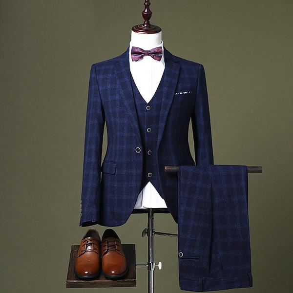 Yüksek Kalite Erkekler Suit erkek Üç parçalı Takım Ince Şerit Kore Elbise Iş Elbisesi Damat Gelinlik Saç Stilisti