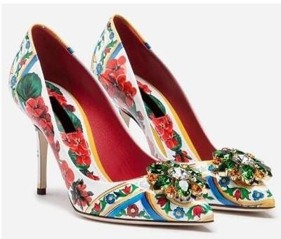 Free shipping 2019 colourful diamond Stiletto high heels Pillage Pointed toes paisley Printed Rose flowers Dress SHOES party wedding 35-42