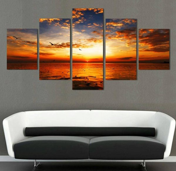 Unframed 5 Panel Wall Art Oil Painting On Canvas Setting sun pattern Printed Painting Pictures large living room
