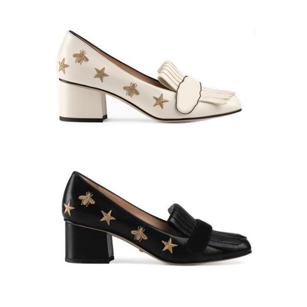 Kadınlar yüksek topuklu Tasarımcı Marmont Pompaları Işlemeli pompalar ile Kalın topuk ayakkabı büyüleyici Püskül siyah Parti ayakkabı boyutu US4-11