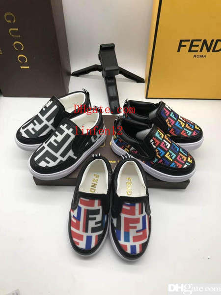 brand girl flat shoes baby girl fabric slip on shoe athletic sneakers Eu 26-35 F Letter design high quality running shoe for child