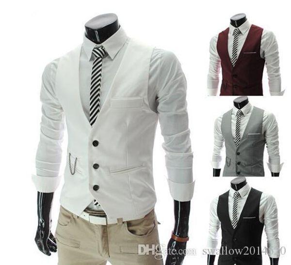 Nice Coreano Moda Mens Roupas Roupas Moda Masculina Fino Com Decote Em V Colete Mens Vest Casual Fino Mens Vest