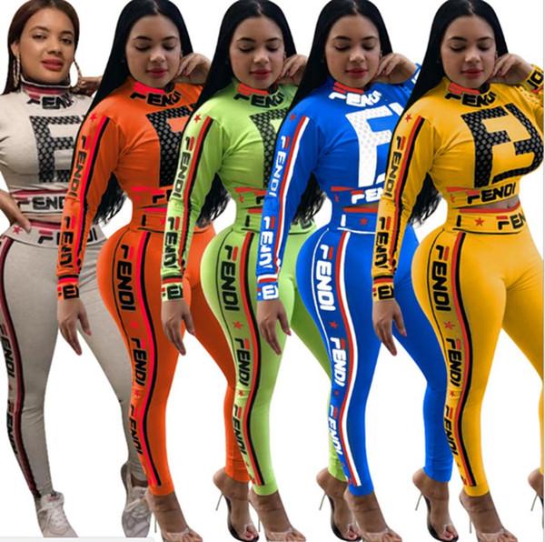 top popular women designer tracksuit long sleeve outfits hoodie legging two piece set skinny sweatshirt tights sport suit pullover pants hot klw0547 2019