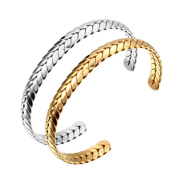 Paslanmaz Çelik Bilezik Bileklik Lüks severlerin Manşet Bilezikler Kadınlar Için Gümüş Altın Başak Açılış Bileklik Takı