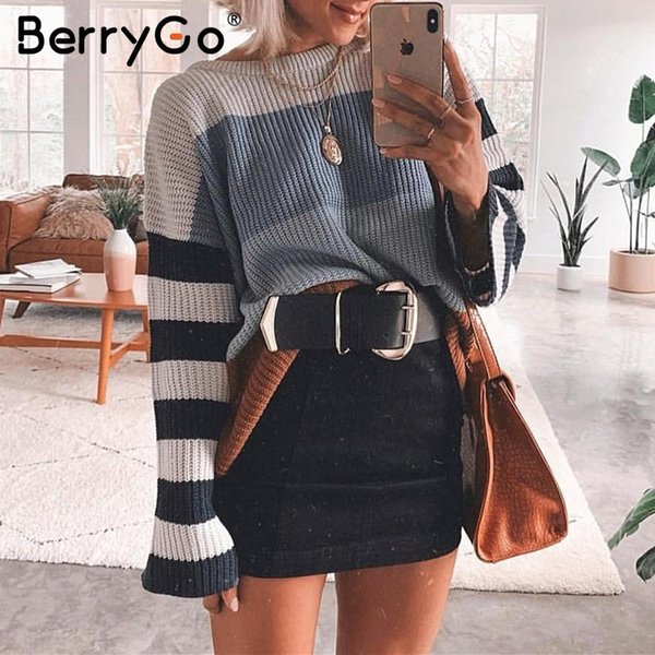 BerryGo Striped women knitted pullover sweater Long sleeve streetwear oversized female sweater Autumn winter ladies jumpers 2019