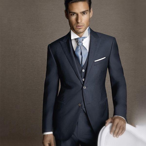 2018 Latest Designs Men Suit 100% Pure Wool Tuxedo Navy Blue Formal Simple Modern Custom 3 Piece wedding suits for men C19011601