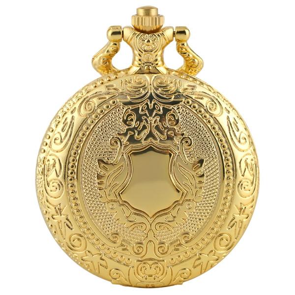 Royal Gold Shield Crown Muster Quarz Taschenuhr Top Luxus Halskette Anhänger Kette Steampunk Clock Collectibles Schmuck Geschenke