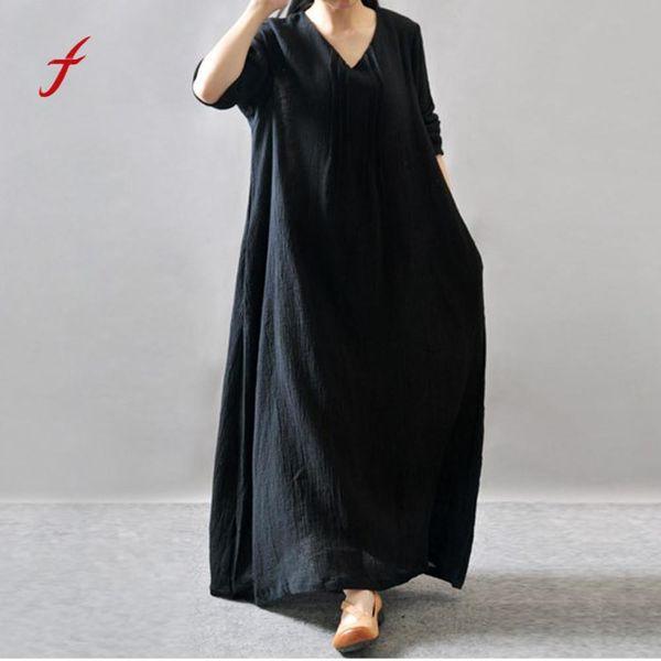 Feitong Fashion Women'S Dresses Long Sleeve Round Neck Linen Loose Bohe Casual Long Maxi Dress Decoration Dresses Woman 2019