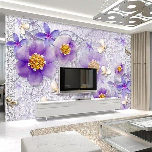 Satın Al Fotoğraf Kağıdı 3d Asil Süslü Mor Avrupa çiçek 3d Oturma