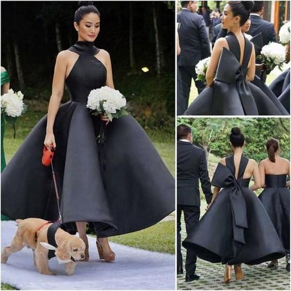 Vestidos de dama de honor Diseño único Negro 2019 Nuevo Gran arco Satén Vestidos de boda Invitado Vestido de dama de honor Barato Personalizado
