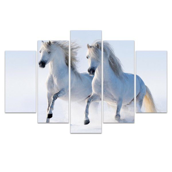 5 Pcs Combinations HD galloping wild horses grassland Blue Sky Pattern Unframed Canvas Painting Wall Decoration Printed Oil Painting poster