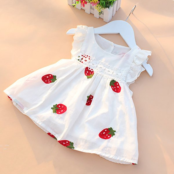 Summer Baby Girls Dresses Floral Strawberry Embroidery Sleeveless Kids Clothing Cotton Print Floral Lace Infant Girl