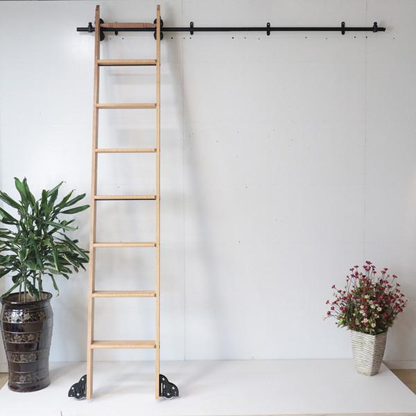 best selling 3.3ft 6.6ft Rustic Black Rolling Library Ladder Kit Quiet Glide Rolling Hook Library Ladder Hardware