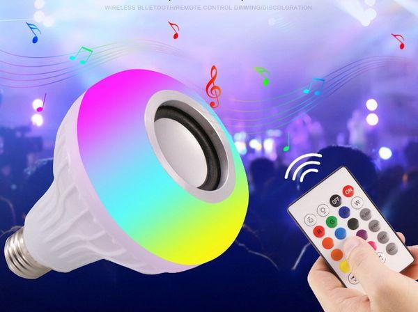 E27 Smart LED-Licht RGB Wireless Bluetooth-Lautsprecher Birne Lampe Musik Spielen Dimmable 12W Music Player Audio mit 24 Tasten Fernbedienung