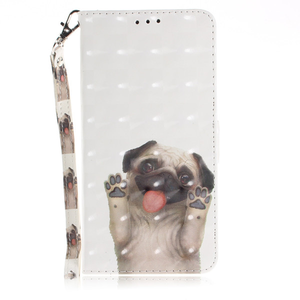 Leather Flip cover phone Case for iphone 6 6s 7 8 plus x xs xr max Painted 3D Pug dog with Credit card slot kickstand wallet