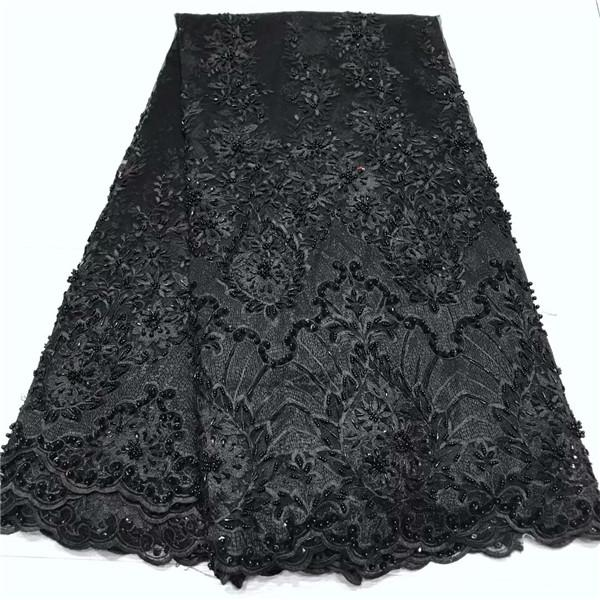 Sexy black party tulle lace material beaded French net lace fabric for evening dress JNZ316(5yards/lot)