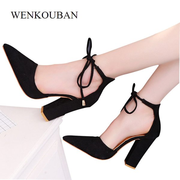 Designer Dress Shoes Sexy Pumps Women High Heels Lace Up Red Pointed Toe Summer Wedding Block Heel Ladies Ankle Zapatos Mujer Tacon