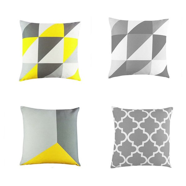 Fabulous Geometric Design Cushion Square Throw Pillow Cover Case Pillowslip Nonwoven Decorative Pillowcases Yellow And Gray Throw Pillows Light Blue Decorative Gmtry Best Dining Table And Chair Ideas Images Gmtryco