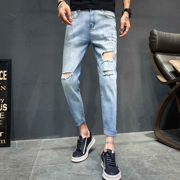 2019 summer new explosions nine pants gray slim feet mens jeans thin Korean version calca masculina Free shipping Fashion
