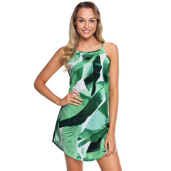Sexy Cute Sweet Short Dress Women Lady Green Round Collar Sleeveless Leaf Flower Flora Print NEW Fashion Casual Streetwear Beach Dress