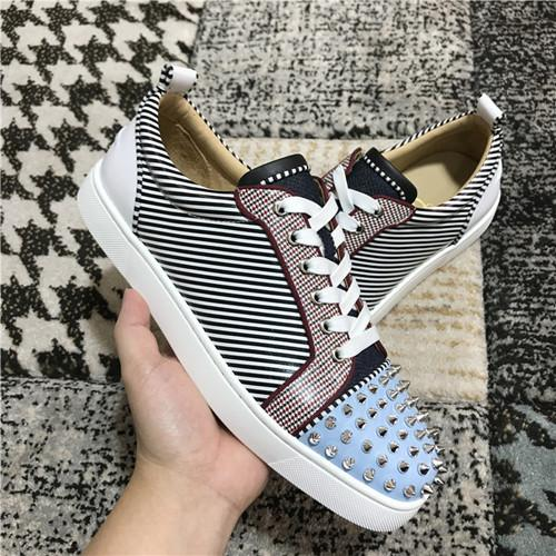 New Style Stripe Patent Leather Women,Men Sneakers Shoes Perfect Quality Spikes Red Bottom Shoes Wedding,Dress,Party Outdoor Flats Walking