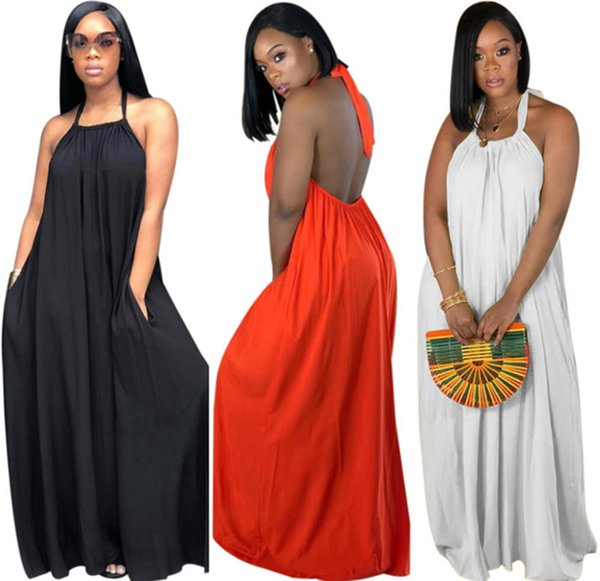Women Halter Backless Maxi Dress Summer Spring Casual Long Skirts Loose Sexy Streetwear Bohemia Strap Dresses Lady clothes 888
