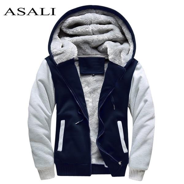 Asali Bomber Jacket Men 2019 New Brand Winter Thick Warm Fleece Zipper Coat For Mens Sportwear Tracksuit Male European Hoodies MX190803