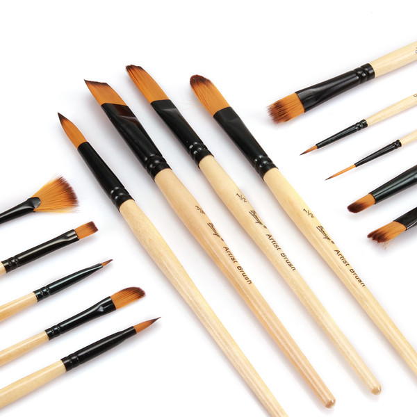 top popular 14 Pcs Artist Paint Brush Set Watercolor Acrylic Oil Painting Brush Supply Health 2021