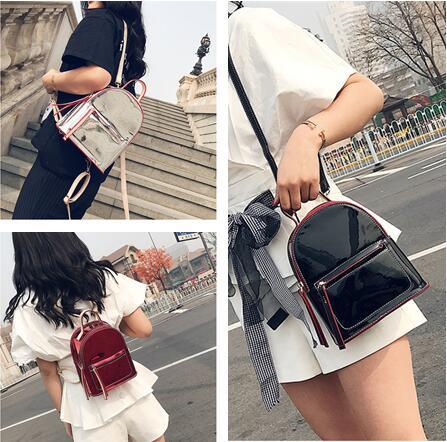 Women Fashion Laser Backpacks Summer Candy Color Leather Mini Backpack Teenager Girls Bling Small Shoulder Bags Free shippin