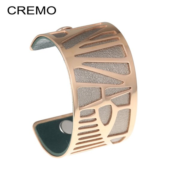 Cremo 2019 neue modeschmuck manschette armreifen für frauen bijoux edelstahl armbänder armreifen austauschbare lederband