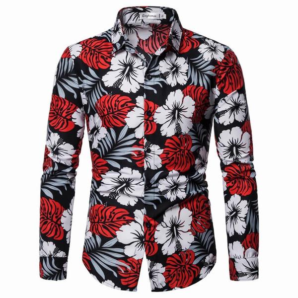 Camisas para hombre hawaianas Blusa para hombre Ropa de playa Moda Vestido informal Flor Camisa de hombre Manga larga Nuevo