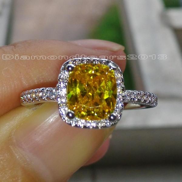 Key4fashion Free High quality Fashion jewelry 925 silver filled Yellow topaz princess cut Topaz Gem Women wedding Band ring for lover gift