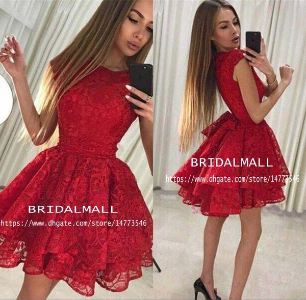 Prenses 2019 Kırmızı Dantel Mezuniyet Elbiseleri Ruffles Kısa Gelinlik Modelleri Gençler Için Ucuz. Sınıf Mini Kokteyl Parti Törenlerinde Mezuniyet Elbiseleri