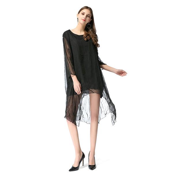 Nuevos vestidos para mujeres Irregular Tencel Press Crepé Sexy Temperamento Vestido para niñas Color negro S M L