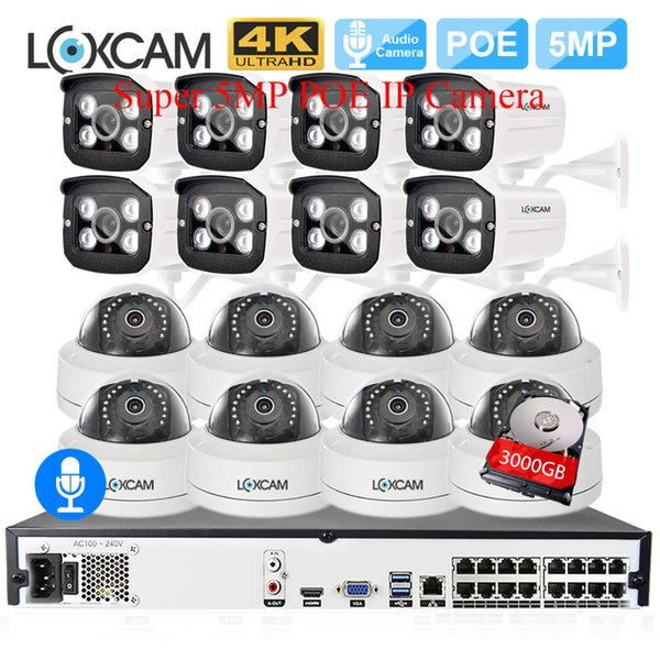 H.265 16CH 5MP POE NVR Kit Audio Record 5MP 2592X1944 In/Outdoor VandalProof IP66 Security IP Camera Video Surveillance System