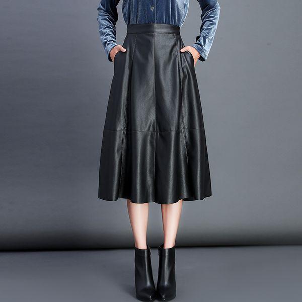 Skirt Women 2019 New High Quality Pu Umbrella Skirt High Waist Loose Solid Female Skirts 2019 New Arrival