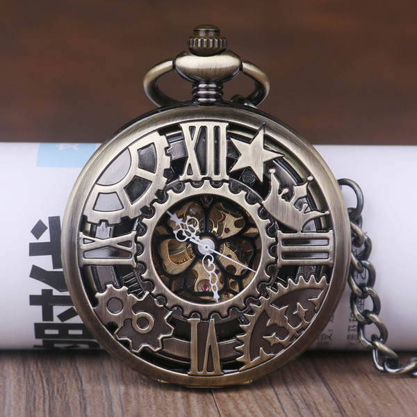 Vintage schwarz Handaufzug Uhr skelett hohlen steampunk Mechanische Taschenuhr ketten anhänger frauen herren geschenke