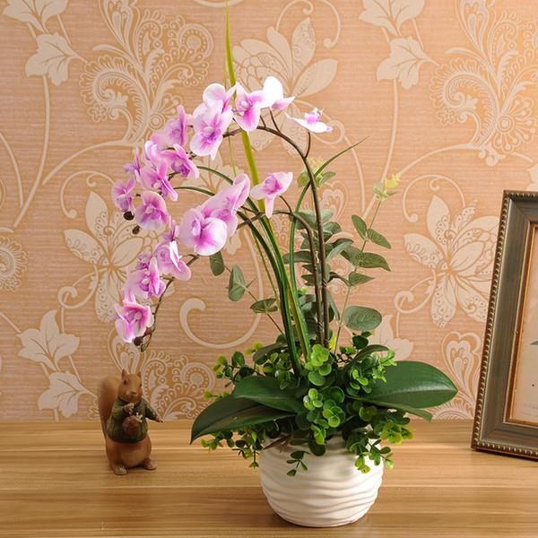 1 set Silicon Real Touch Artificial Orchid Flower Arrangement Mini Bonsai Flower Only No Vaso J190711