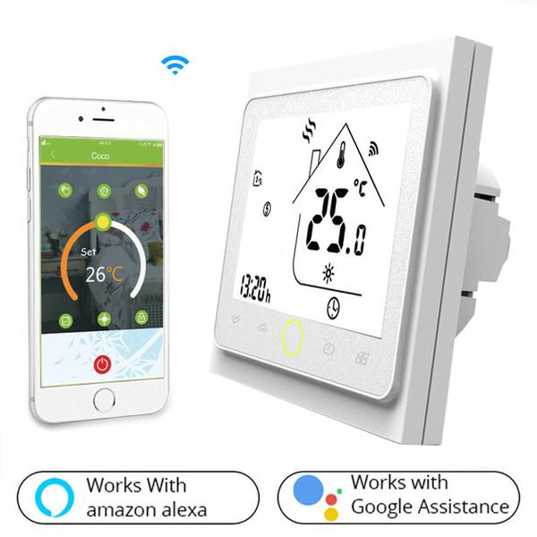 WiFi El termostato inteligente Controlador de temperatura para agua / piso eléctrico Calefacción Agua / Gas La caldera funciona con Alexa Google Home