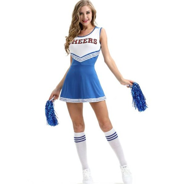 in stock Cheerleading Costume Sexy Girl Cheering Squad Rooters Performance Apparel Plus Size Underwear with Cheerleading Flower Ball