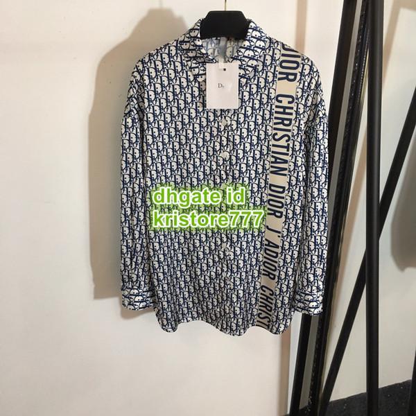 Heißer Verkauf Frauen Polyester Hemd High-End Benutzerdefinierte Langarmhemd Paris Fashion Week Brief Bluse djkl