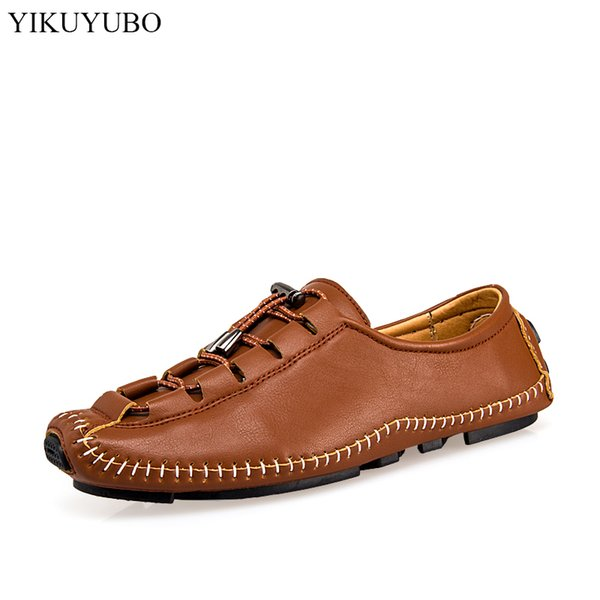 YIKUYUBO 2019 Leather Shoes Men Summer Breathable Casual Flat Shoes Men Fashion Lightweight Non-Slip Mens Loafers Driving