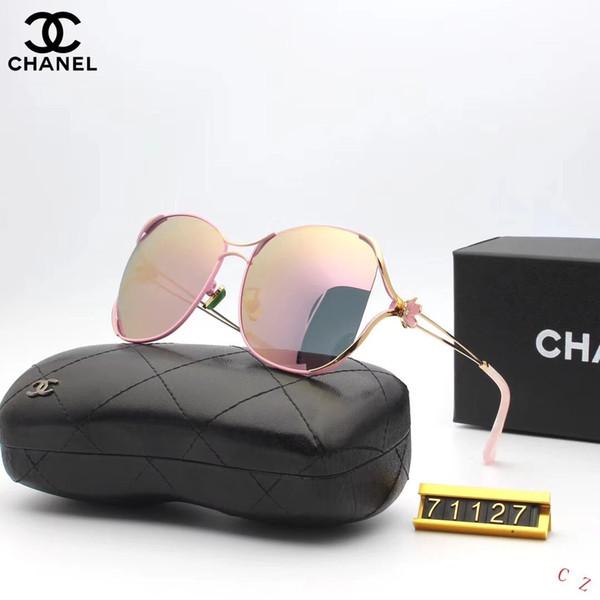 Fasion Designer de Óculos De Sol De Luxo Óculos De Sol de Designer De Vidro para Mulheres Óculos Adumbral UV400 Estilo C71127 6 Cores de Alta Qualidade com Caixa